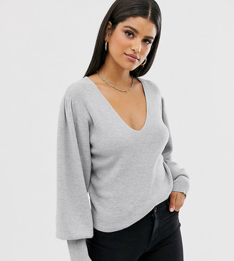 Asos DESIGN Tall v neck sweater with blouson sleeve