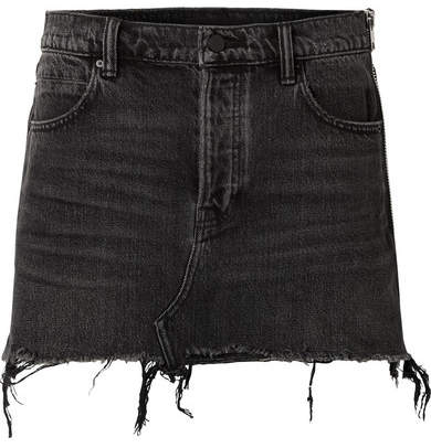 Alexander Wang Zip-embellished Frayed Denim Mini Skirt - Dark gray