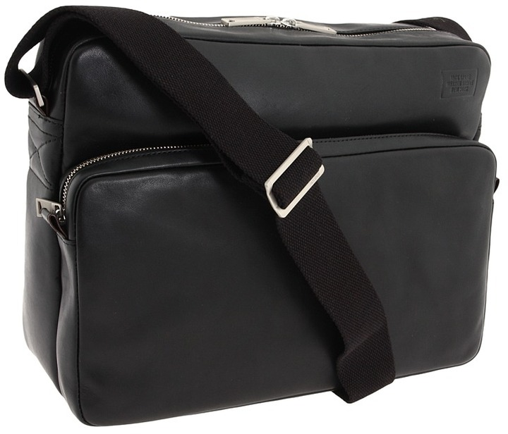Jack Spade Mill Leather Correspondence Bag (Black) - Bags and Luggage