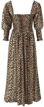 Ganni Long leopard-print dress