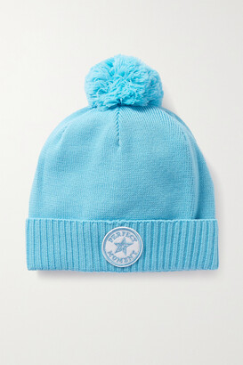 Perfect Moment Patch Ii Pompom-embellished Appliqued Wool Beanie - Blue