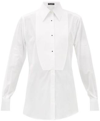 Dolce & Gabbana Bib-front Cotton-poplin Tuxedo Shirt - Womens - White