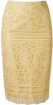 Martha Medeiros 'renascenca' Lace Pencil Skirt