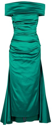 Talbot Runhof Bozica teal off-the-shoulder satin dress