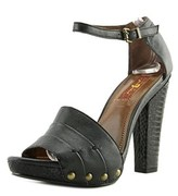 7 For All Mankind Edrice Women Open Toe Leather Black Platform Heel.