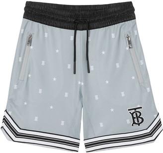 Burberry Boy's Dafydd Star & TB Monogram Drawstring Shorts, Size 3-14