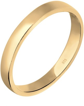 Elli Women's 925 Sterling Silver Gold Plated Xilion Cut Basic Ring Size Q