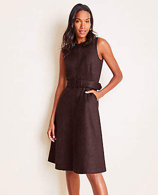 Ann Taylor Petite Faux Suede Belted Flare Dress