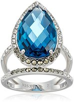Judith Jack Sterling Silver/Swarovski Marcasite Blue Pear Shaped Ring, Size 7