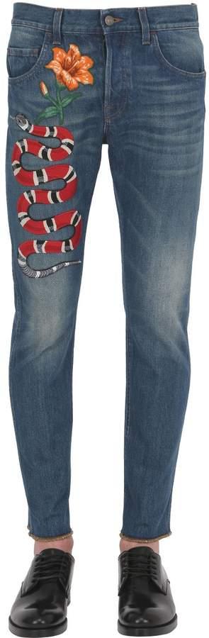 Gucci 17.5cm Snake Stone Washed Denim Jeans