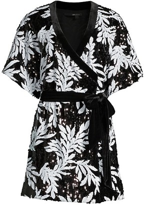 Jay Godfrey Lanai Sequin Palm-Print Wrap Dress