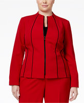Kasper Plus Size Crepe Zip-Front Piped-Trim Jacket