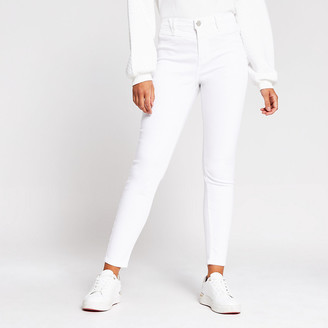 River Island White Molly mid rise jeggings