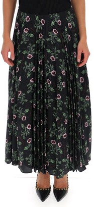 Valentino Floral Pleated Maxi Skirt
