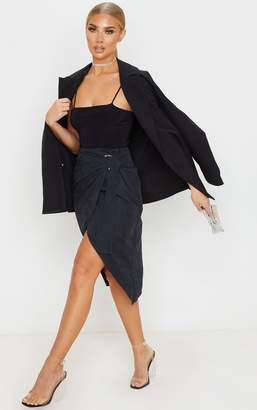 4fashion Black Faux Suede D Ring Wrap Midi Skirt