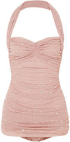 Thumbnail for your product : Norma Kamali Crystal-embellished Ruched Mesh Halterneck Swimsuit