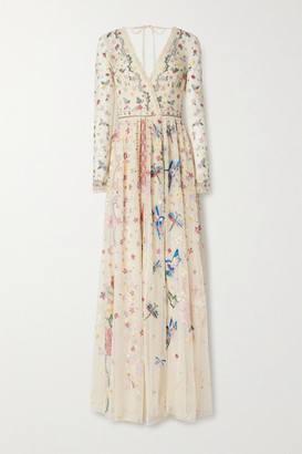 Needle & Thread Elements Pleated Embellished Tulle Gown - Beige
