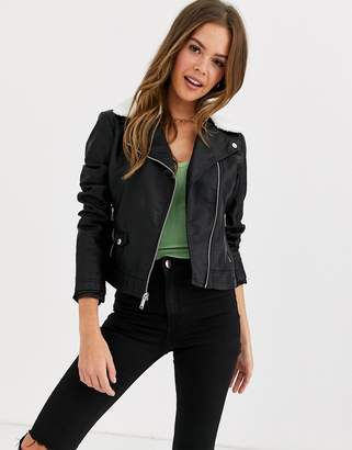 Hollister faux fur collar biker jacket