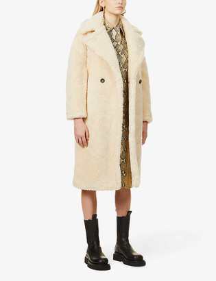 Topshop Whinnie double-breasted faux-fur coat