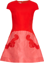 Antonio Berardi Embroidered A-line crepe dress