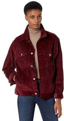 Naked & Famous Denim Jacket Seersucker Corduroy (Burgundy) Clothing