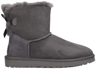 UGG Mini Bailey Bow Low Heels Ankle Boots In Grey Suede