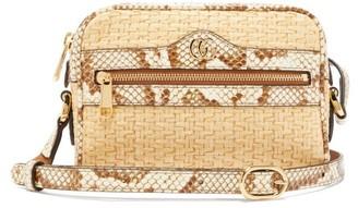Gucci Ophidia Mini Watersnake-trim Cross-body Bag - Beige Multi