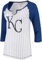 New Era Women's 5th & Ocean by White/Royal Kansas City Royals Pinstripe 3/4-Sleeve Notch Neck Raglan T-Shirt