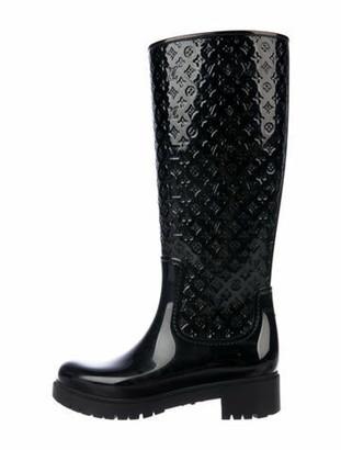 Louis Vuitton Monogram Rubber Rain Boots Black