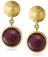 "Gurhan Lentil"" Gold Round Cabochon Ruby Drop Earrings"