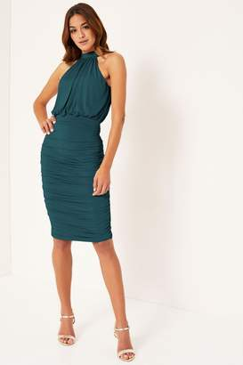 Lipsy Ruched Slinky Dress - 12 - Green