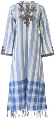 Tory Burch EMBROIDERED KAFTAN DRESS 2 Blue, White Cotton