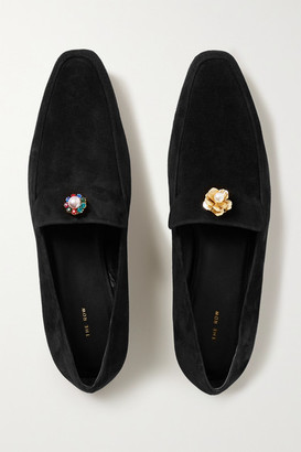 The Row Minimal Embellished Suede Loafers - Black
