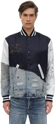 Greg Lauren Viscose & Cotton Denim Varsity Jacket