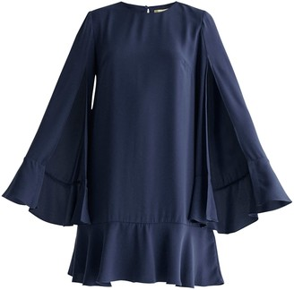 Paisie Cape Sleeve Swing Dress With Peplum Hem In Navy