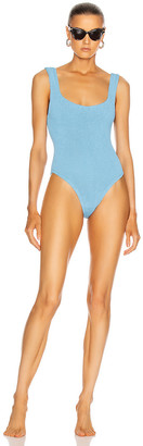 Hunza G Classic Square Neck Swimsuit in Sky Blue | FWRD