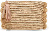 Loeffler Randall Pompom-embellished Leather-trimmed Straw Clutch - Beige