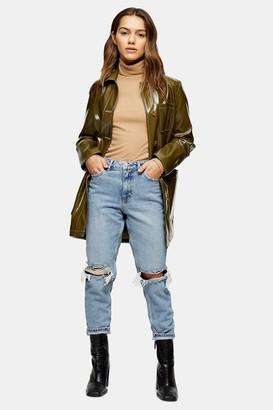 Topshop Womens Petite Bleach Wash Double Rip Mom Jeans - Bleach Stone