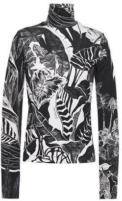 Just Cavalli Printed Stretch-jersey Turtleneck Top