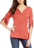 Democracy Ruched Sleeve Solid Drop Waist Flounce Top