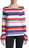 Lord & Taylor Striped Bell-Sleeve Cotton Top