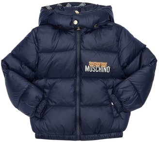 Moschino Logo Printed Nylon Down Jacket