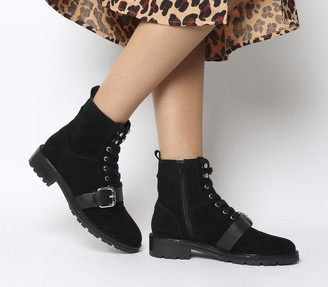 Office Armour Lace Up Buckle Boots Black Suede