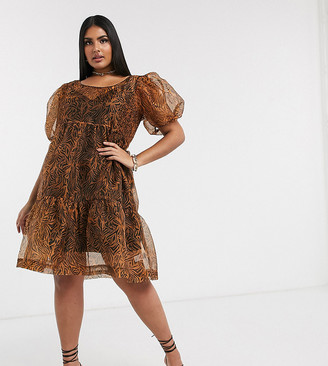 Unique21 Hero organza mini dress in leopard print