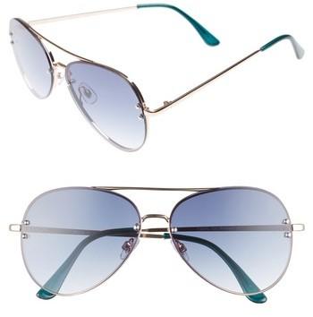 BP Women's 60Mm Oversize Mirrored Aviator Sunglasses - Blue