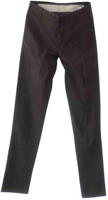 Rick Owens Brown Cotton Trousers