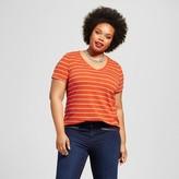 Ava & Viv Women's Plus Size V-Neck Tee Orange Stripe