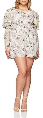ELVI Women's The Oda Ruffle Sleeve Playsuit in Romantic Floral Print,(Size:)