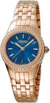 Ferré Milano Women's 30mm Stainless Steel 3-Hand Glitz Watch with Bracelet, Rose/Blue