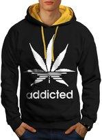 Addicted Stripes Men NEW L Contrast Hoodie | Wellcoda